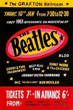 The Beatles Poster Grafton Ballroom Gig Print Vintage Concert Memorabilia Gift Beatles Gifts, Beatles One, Beatles Poster, Rock Posters, Band Posters, Music Posters, Event Posters, Gerry And The Pacemakers, John Lennon Paul Mccartney