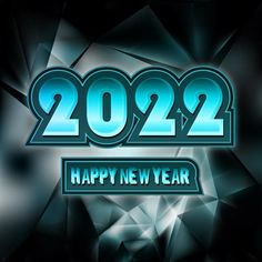 Free Happy New Year 2022 Black and Blue Background
