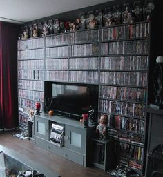 DVD Storage Ideas – If you have a large collection of DVDs it can be difficult to keep them in order and you will find yourself scattering them around after use. #Dvd #DIY #Storage #Shelves #Ideas #Cabinet #Cool