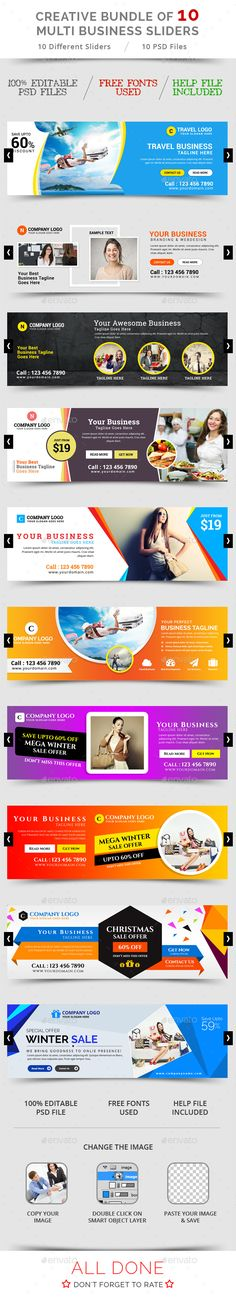 Buy Bundle Of 10 Creative Business Sliders by ecreativesol on GraphicRiver. Bundle of 10 Creative Business Sliders Bundle of 10 Multi Business Sliders template PSD file ready for your professio. Corporate Design, Business Card Design, Creative Business, Web Design, Web Banner Design, Flat Design, Graphic Design, Facebook Cover Design, Facebook Timeline Covers