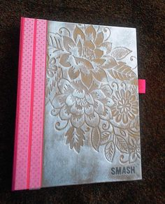 K & Co Pink Smash book altered with silver pigment stamp and Washi tape. Love it!!
