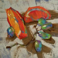 Sweet Harvest par Jennifer Evenhus Pastel ~ 6 x 6 Painting Still Life, Still Life Art, Pastel Artwork, Pastel Paintings, Fruit Painting, Chalk Pastels, Oil Pastels, Pastel Drawing, Impressionism Art
