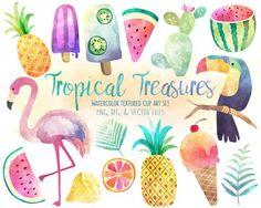 Tropical Watercolor Clipart - Summer, Pineapple, Flamingo Digital Clip Art Set