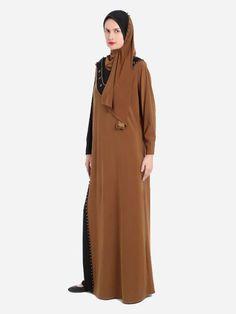 Elegant Prayer Dress Isdal Tan and Black With Hijab | Islamic Boutique