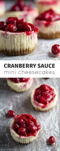 Cranberry Sauce Mini Cheesecakes made with leftover cranberry sauce! @sweetpeasaffron