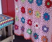 Het patroon voor het zomers gehaakte deken is nu te koop in mijn etsy shop! Also in UK terms