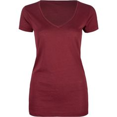 FULL TILT Essential Womens Deep V-Neck Tee ($7.99) ❤ liked on Polyvore featuring tops, t-shirts, shirts, tees, blouses, maroon, red top, cotton short sleeve shirts, red short sleeve shirt and red t shirt