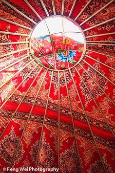circular ceiling of a kazakh yurt.