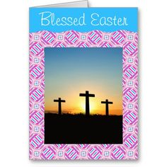 Pink and Blue Colorful Easter Eggs and Flowers Greeting Card with Photo Template