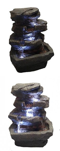 """Major-Q Decoration Feng shui Rock Like Waterfall Fountain with LED Light (82311-14"""" Tall)"""