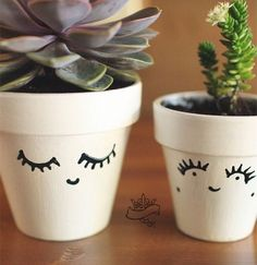 Kawaii planter pots. Use fake lashes!