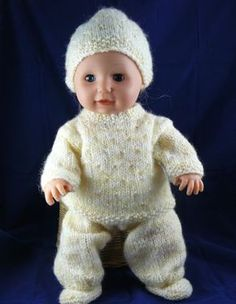 "Spring Outfit for Tiny Tears or similar sized 16"" Doll - http://www.nixneedles.co.uk/Hobbies/Knitting/Knitting-Patterns-Designs/Knitted-Dolls-Clothes/Spring-Baby-Outfit-for-16-Doll"