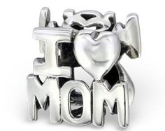 'i Love Mom' Bead Charm in 925 Stamped Sterling Silver *** Read more details by clicking on the image. #Charms