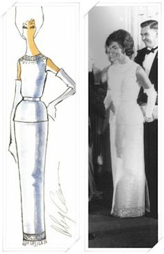 Jackie Kennedy, wearing a heavy white silk long evening gown with a slim skirt and sleevless overblouse. The neck of the bouse and hem of the skirt have embroidered details of white beads Design & illustration by Oleg Cassini Jacqueline Kennedy Onassis, Estilo Jackie Kennedy, Los Kennedy, John F Kennedy, Victoria Beckham, Olivia Palermo, Southampton, 1960s Fashion, Figure It Out