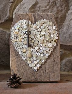 Vintage Heart Rustic Barn Wood Art Plaque w Stand Buttons Reclaimed Skeleton Key Salvaged Sign Recycled Upcycled Steampunk Valentine Love
