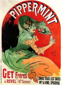 Vintage French Advertising Art Poster Pippermint