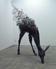 Tomohiro Inaba is a young artist who finished his graduate studies in 2010. Though made from solid iron wire, many of his sculptures appear freely woven. Their foundation is an anatomically correct solid form but it shoots off in incredibly complex tangles of steel wire that manifest themselves like violent pencil scribbles. His work has been exhibited in Japan.