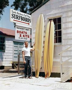 The shaper in 1959 in front of his shop at Santa Barbara.