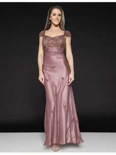 Capped Sleeve Evening Gown