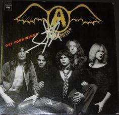 Aerosmith Album Covers | Steven Tyler Autographed Aerosmith Vinyl Album Cover With Album