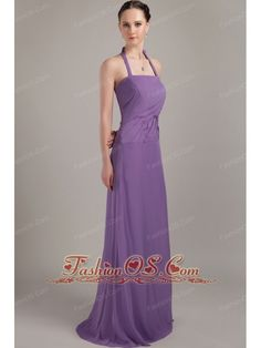Purple Column Halter Brush Train Chiffon Ruch Bridesmaid Dress  http://www.fashionos.com  http://www.facebook.com/fashionos.us  Simple but gorgeous this purple prom dress is!The strapless bodice is adorned with a halter-top neckline and exquisite ruchings.The skirt in stunning fabric flows freely to the floor to contures your slim figure. A zipper up back completes this wonderful design.