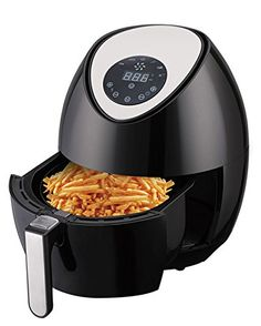 Ivation Multifunction Electric Air Fryer with Digital LED Touch Display Featuring 7 Cooking Presets Menu Timer and Temperature Control  for Healthy Frying with Little to No Oil 1400W  Black *** To view further for this item, visit the image link.