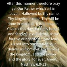 Good Afternoon Soldiers Of Christ! Arise and Put On the Armor Of Our Lord! Today's Prayer for the Day Matthew 6:9-13. Let's Walk Together Victorious! AMEN!
