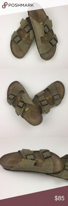 Birkenstock Arizona Softbed Taupe Suede Sandal Slip on. Suede lined. Provides moderate arch support. Anatomically correct cork footbed. Fits 9-9.5. Made in Germany. New w/o tags and box. Birkenstock Shoes Sandals