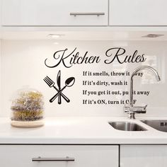Kitchen Rules Mural Quote Words Removable Wall Sticker Art Decal Room Home Decor #Unbranded #Contemporary