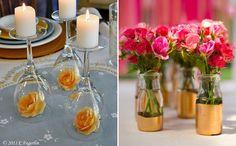 10 ideias diferentes de arranjos de mesa para casamentos que você mesma pode fazer - Casinha Arrumada
