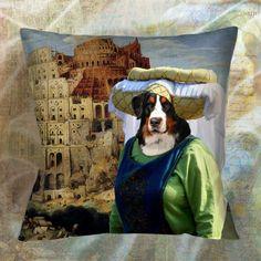 Dog Pillow Bernese Mountain Dog Pillow Case by NobilityDogs Bernese Mountain, Pillows, Dogs, Etsy, Painting, Vintage, Art, Art Background, Bernese Mountain Dogs