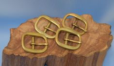 """Set of 4 Matched Antique/Vtg Solid Brass Buckles Beautiful Patina 2 3/16"""" Wide #Unbranded"""