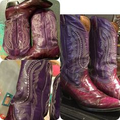 PURPLE Eeel cowboy boots!  In store NOW! Mens size 12 Hello K-State Wildcats EMAW