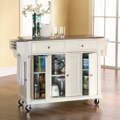 Kitchen Cart with Stainless Steel Top modern kitchen islands and kitchen carts