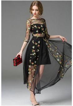 Product Name:Embroidered Floral Mesh Dress, Category:dress, Mesh Embroidered Dress from New York by Dor L'Dor Long Sleeve Mesh Dress, Maxi Dress With Sleeves, Floral Mesh Dress, Floral Lace, Silk Mini Dress, Gauze Dress, Casual Dresses, Formal Dresses, Beach Dresses