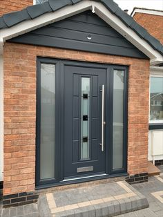 Rockdoor and Solidor Doors installation. View our recent installations carried out from Rockdoors and Solidors. We have installed over composite doors Gray House Exterior, Modern Front Porches, Front Porch Design, Front Doors Uk, House Front Door, House Front, Aluminium Front Door, Porch Doors, House Front Porch