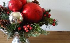 red and silver christmas table | ... 1449 pin christmas centerpiece red and silver ornaments in bowl with