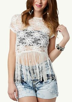 image of Fringe Lace Crop Top