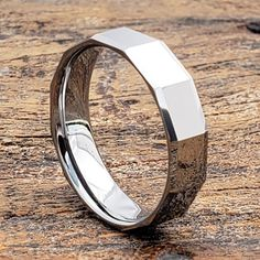 Tuscana affordable mens faceted tungsten rings are affordable fashion pieces. Wear durable metal wedding bands and ensure lifetime of beauty. Tungsten Wedding Bands, Wedding Rings, Mens Ring Designs, Tungsten Carbide Rings, Rings For Men, Pure Products, Engagement Rings, Affordable Fashion, Metal