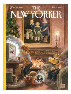 The New Yorker December 1996 Cover Art - Edward Sorel пикс The New Yorker, New Yorker Covers, Illustration Noel, Magazine Illustration, Christmas Cover, Christmas Past, Magazin Covers, Old Portraits, New Yorker Cartoons