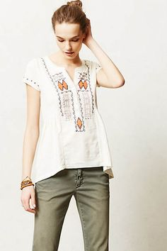Embroidered High-Low Tee