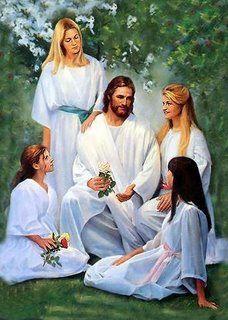 Jesus teaching young girls