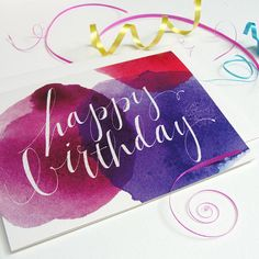Happy Birthday Card Single Purple and Red by anopensketchbook