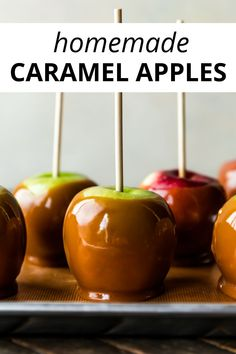 Learn how to make homemade caramel apples with REAL caramel. This festive fall and Halloween dessert is always a family favorite! Recipe on sallysbakingaddiction.com Halloween Desserts, Halloween Food For Party, Fun Desserts, Delicious Desserts, Fruit Recipes, Apple Recipes, Fall Recipes, Sallys Baking Addiction, Food T