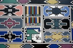 """Ndebele [South Africa] women paint colorfully with the original geometrical pattern on the wall of their houses. These beautiful patt. African Colors, African Patterns, Ethnic Patterns, African House, African Art Paintings, African Tribes, African Textiles, Historical Images, Tribal Art"