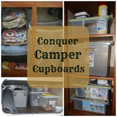 Feel like you& always falling over things in the camper? Need some camper organization tips? Here are some easy ways you can conquer camper cupboards! Camping Hacks, Travel Trailer Camping, Camping Storage, Rv Storage, Camping Ideas, Rv Hacks, Travel Trailers, Rv Travel, Caravan Storage Ideas