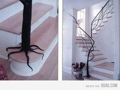 The part of my brain that is stuck in a never ending fairy tale just squealed over this tree handrail.