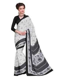 Crepe Silk Printed Cream & Black Saree - #gorgeous #beautiful #StayTrendyWithIndiaRush #StayTrendy