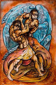 Jacob wrestles with God art print by JCStilesArt on Etsy, $30.00