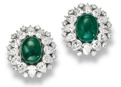 Pair of Emerald and Diamond Earrings, Harry Winston       Each cluster claw-set at the center with a cabochon emerald within a border of pear-shaped and brilliant-cut diamonds, mounted in platinum. (Sold for $39,545)